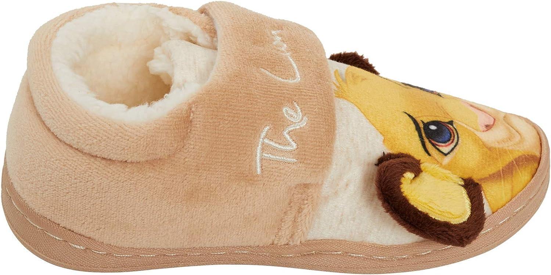 con forro de pelo para ni/ños y ni/ñas Zapatillas 3D de El Rey Le/ón de Disney dise/ño de Simba f/áciles de sujetar
