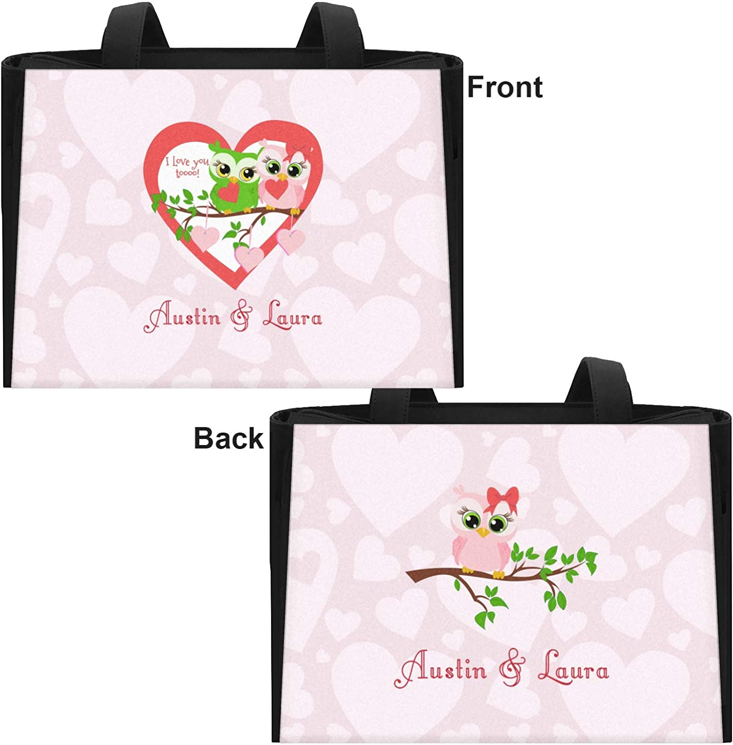 Personalized Front Valentine Owls Ladies Workout Bag