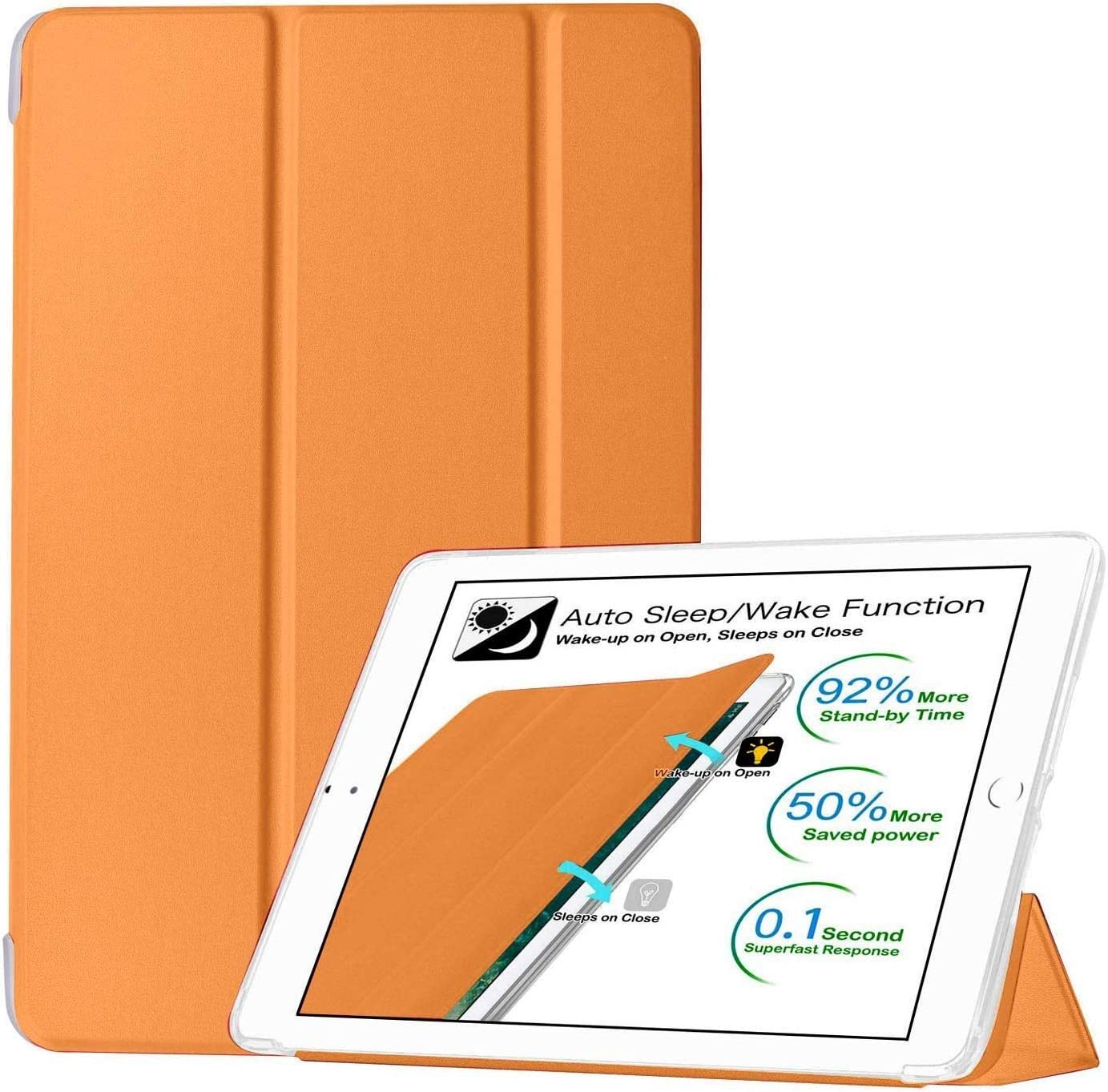 DuraSafe Cases for iPad PRO 9.7 Inch 2016 [ A1673 A1674 A1675 ] Smart Cover with Soft Silicone Back, Auto Sleep/Wake - Orange