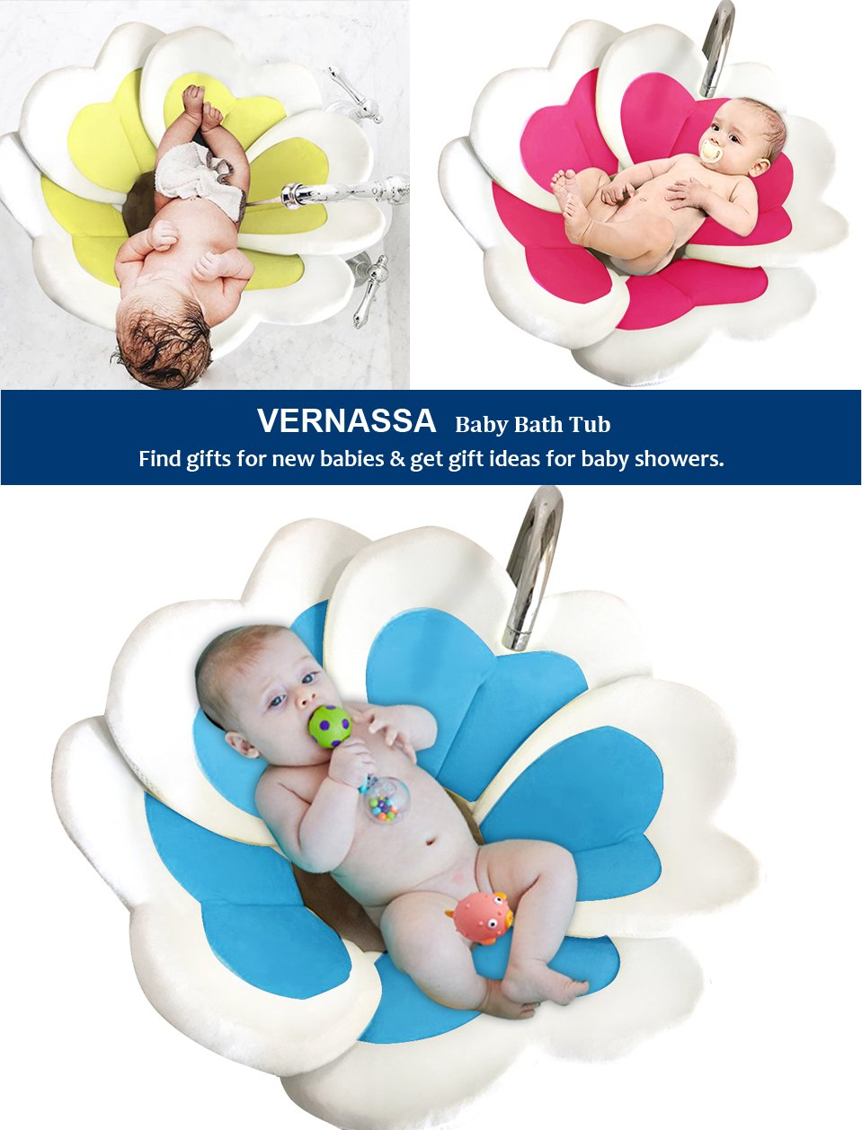 VERNASSA New Baby Bathtub, Flower Cute Foldable Plush Bath Mat ...