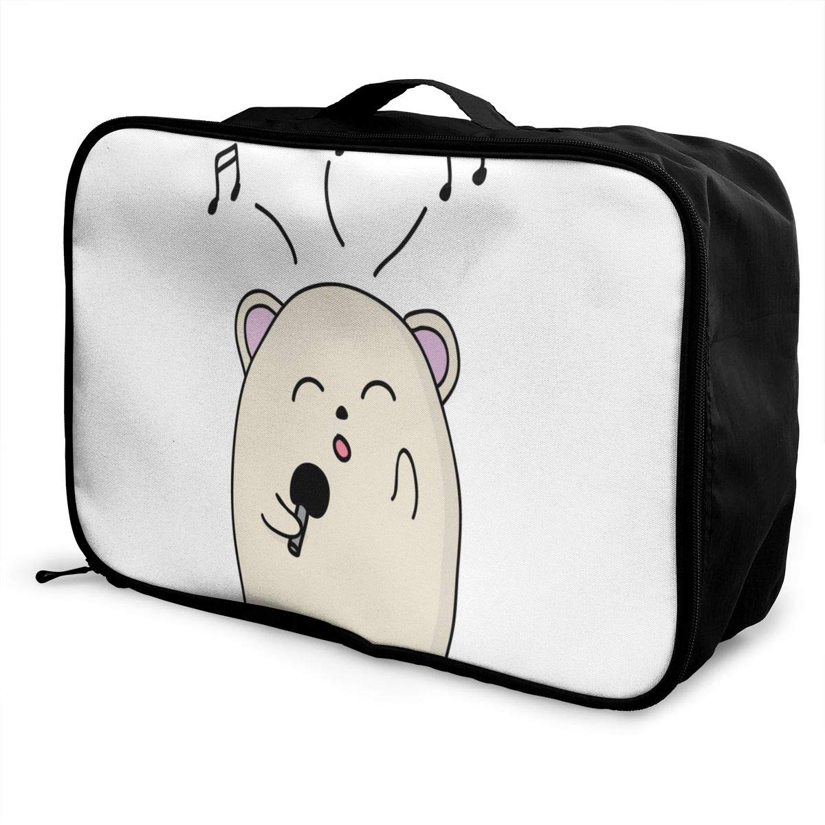 Lightweight Large Capacity Portable Luggage Bag Cute Animal Singing Travel Waterproof Foldable Storage Carry Tote Bag