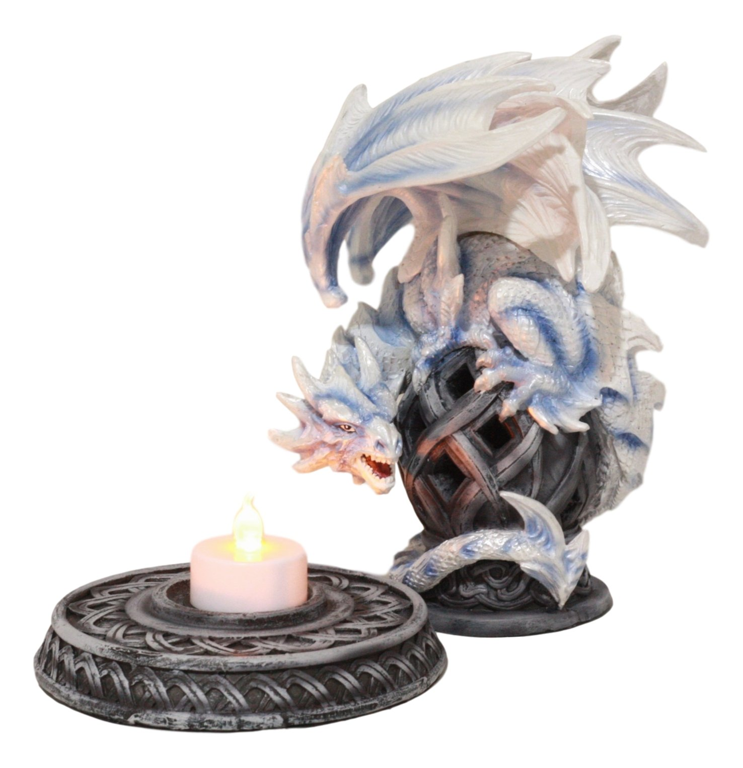 Ebros Guardian of Celtic Tomb White Icycle Dragon Backflow Cone Incense Holder Statue 8.5''Tall Fantasy Icelandic Dragon LED Tea Light Candle Holder Figurine by Ebros Gift (Image #6)