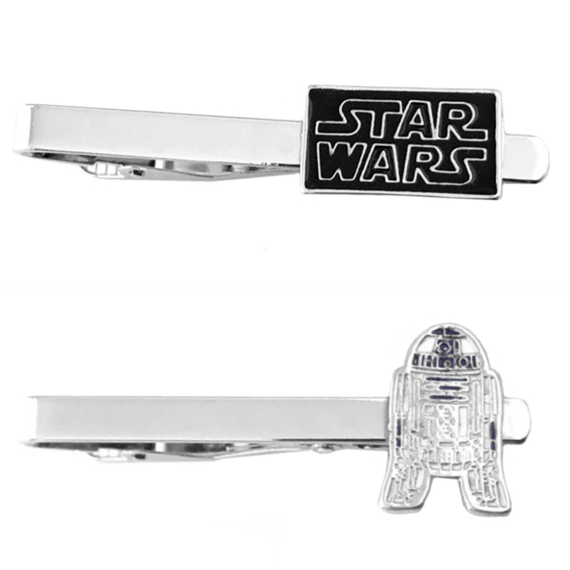Outlander Star Wars - Text & R2-D2 Flat - Tiebar Tie Clasp Set of 2 Wedding Superhero Logo w/Gift Box
