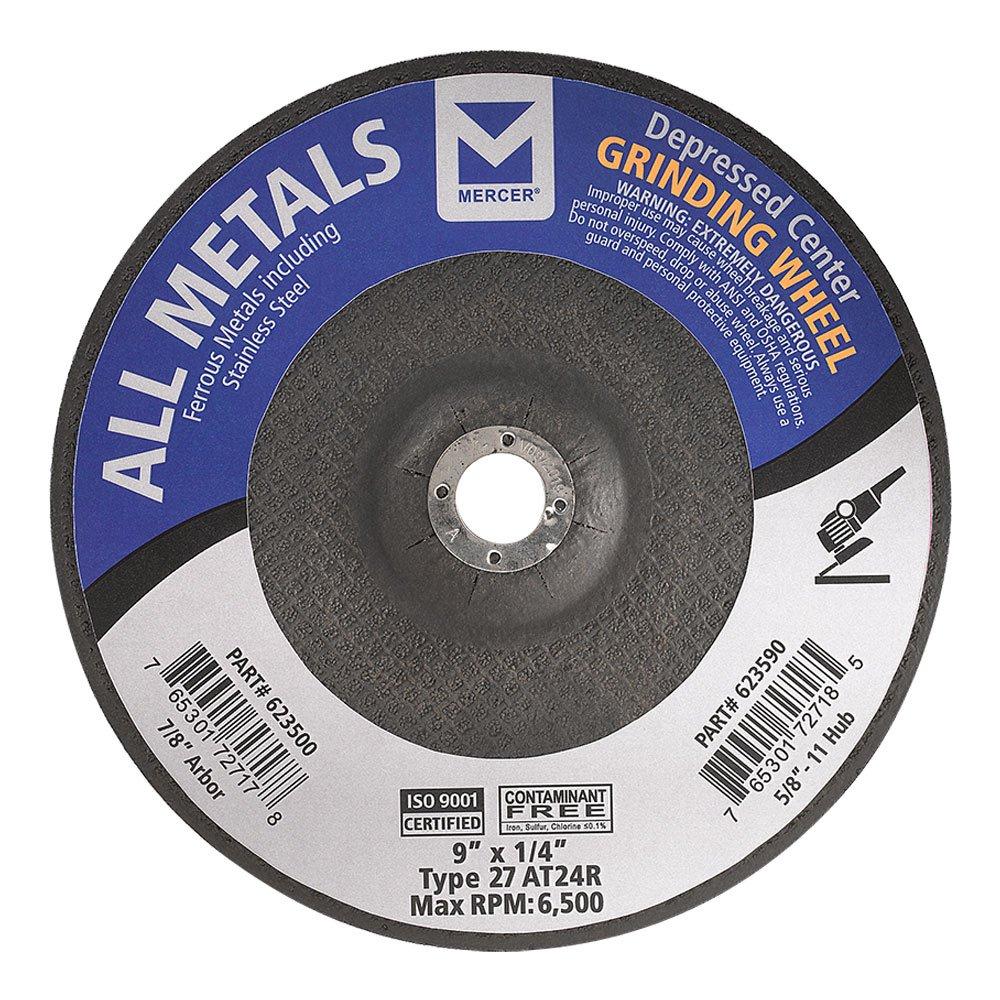 Mercer Industries 623500 Type 27 All Metals Grinding Wheel, 9'' x 1/4'' X 7/8'', 15 Pack