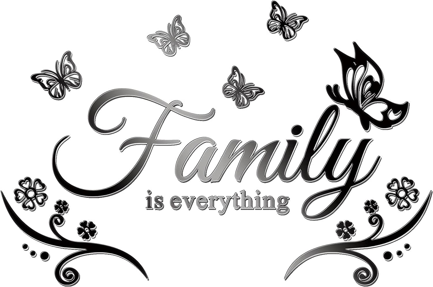 3D Acrylic Mirror Wall Decor Stickers Family Letter Quotes Wall Stickers Removable Family Wall Art Decals DIY Motivational Family Butterfly Mirror Stickers for Home Office Dorm (Black Chic Family)