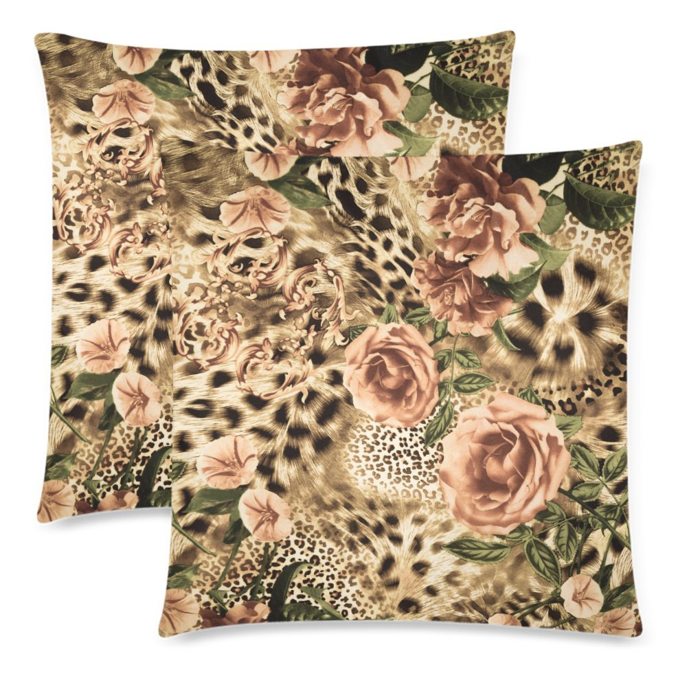 InterestPrint 2 Pack Striped Leopard Animal Print Valentine's Day Pillow Case Cover 18x18 Twin Sides, Flower Zippered Throw Cushion Pillowcase Protector Set Decorative for Couch Bed