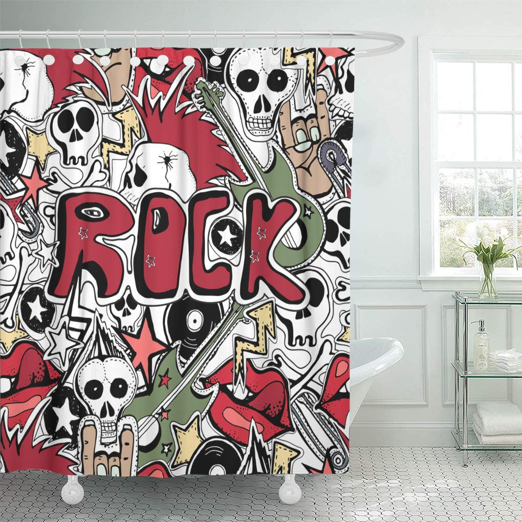 Emvency Shower Curtain Colorful Hand Crazy Punk Rock Abstract Skulls Pins Guitars Symbols Disk Stars Lips Bikers 60 X 72 Inches