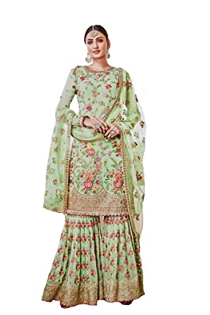 1ecc5fd28b Generic Women's Georgette Embroidered Sharara Suit (LNF115, Green, XXXL):  Amazon.in: Clothing & Accessories
