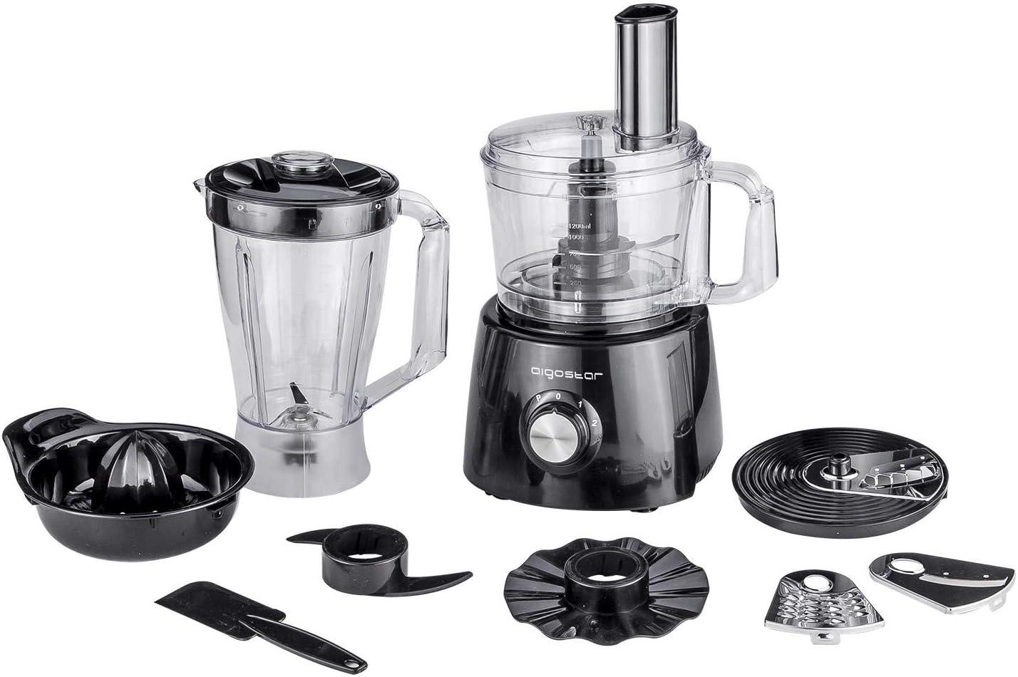 Aigostar Justall 30CFF - Procesador de alimentos con todos sus accesorios. 800 watios. Materiales de alta resistencia. Garantía y calidad exclusiva.