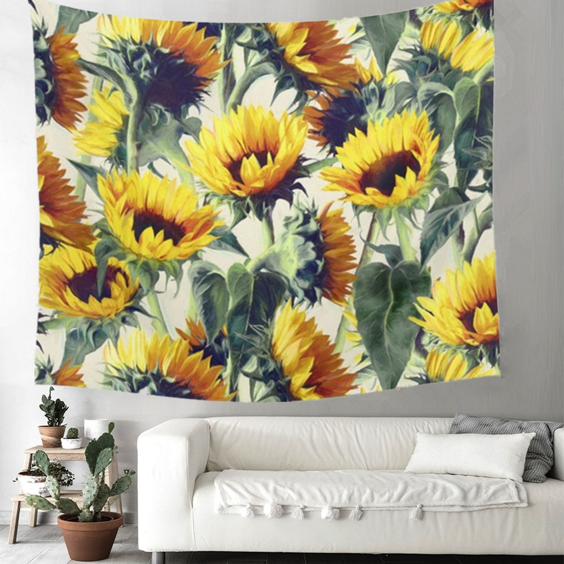 Grace store Boho Wall Tapestry Yellow Sunflower Tapestry Wall hanging Mandala Tapestry for Bedroom, W59 x L51 by Grace store