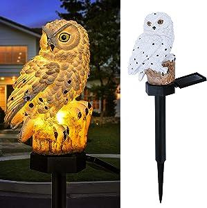 Owl Shape Light LED Solar Garden Light Garden Decor Garden Ornament Owl Lawn Lamp Waterproof Solar Led Lights Outdoor Yard Garden Creative Solar Lamps (White)