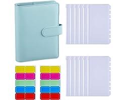Antner A6 PU Leather Binder Cover with 12PCS A6 Binder Pockets Loose Leaf Bags 6 Ring Binder Cash Budget Envelopes System, Mi