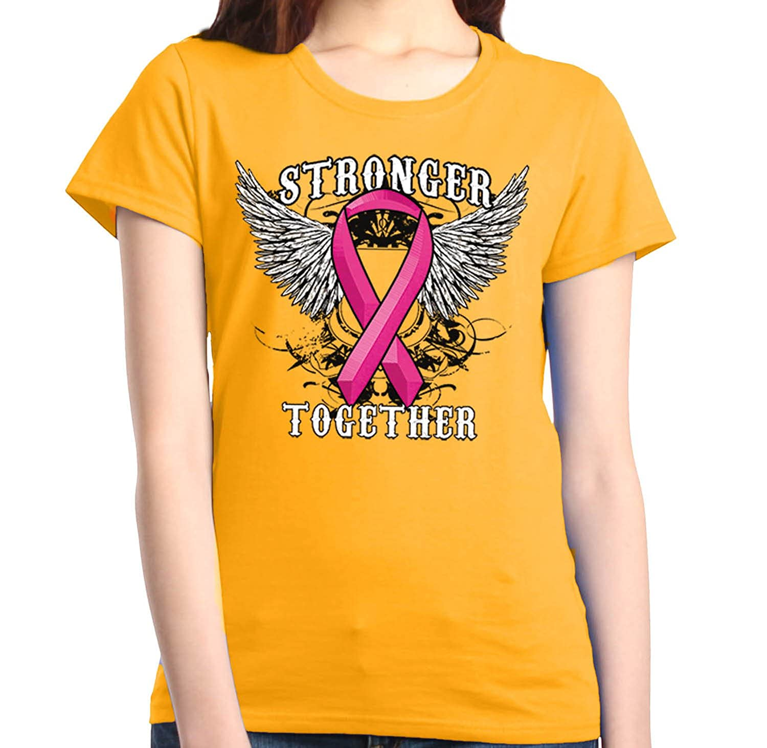 Shop4Ever Stronger Together Women's T-Shirt Breast Cancer Awareness Shirts