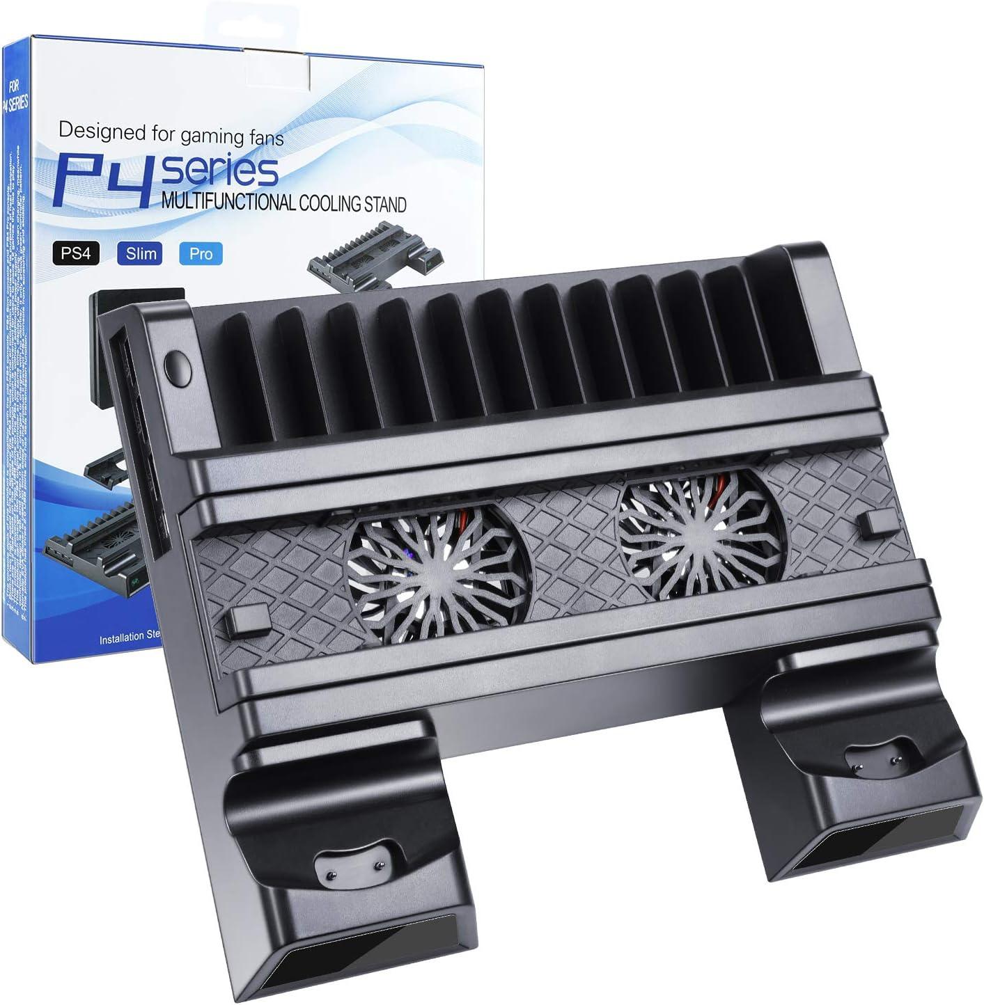 EXTSUD Base PS4 Slim/Pro 2 en 1 Soporte Vertical PS4 con Ventilador de Refrigeración Estación de Carga 4 Base Cargador para PS4/PS4 Slim/PS4 PRO Controller Accesorio Stand para PS4