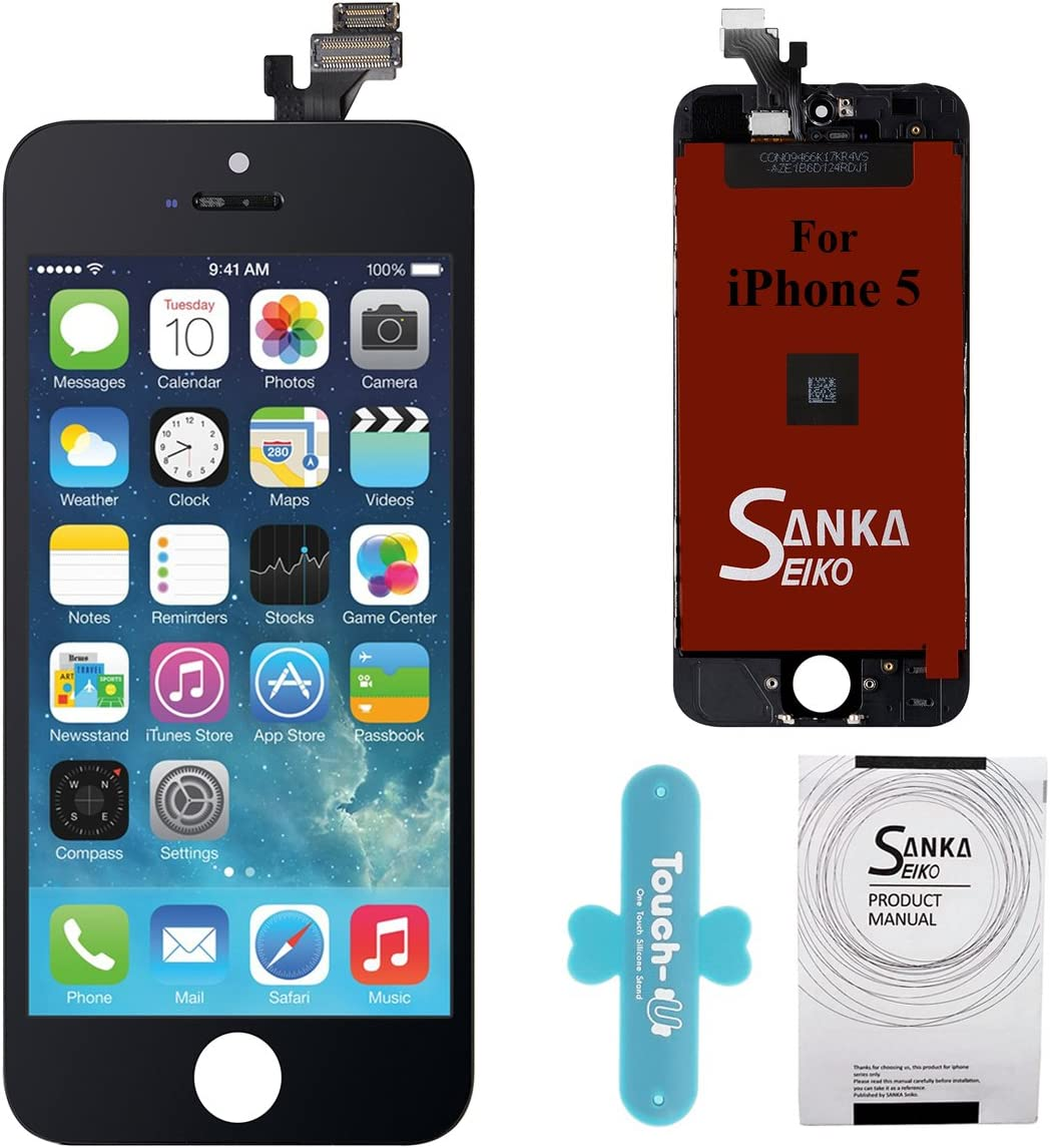 Sanka iPhone 5 LCD Display Screen Replacement Repair Kit, Digitizer Retina Touch Screen Glass Frame Assembly for iPhone 5 - Black (Repair Tools Included)