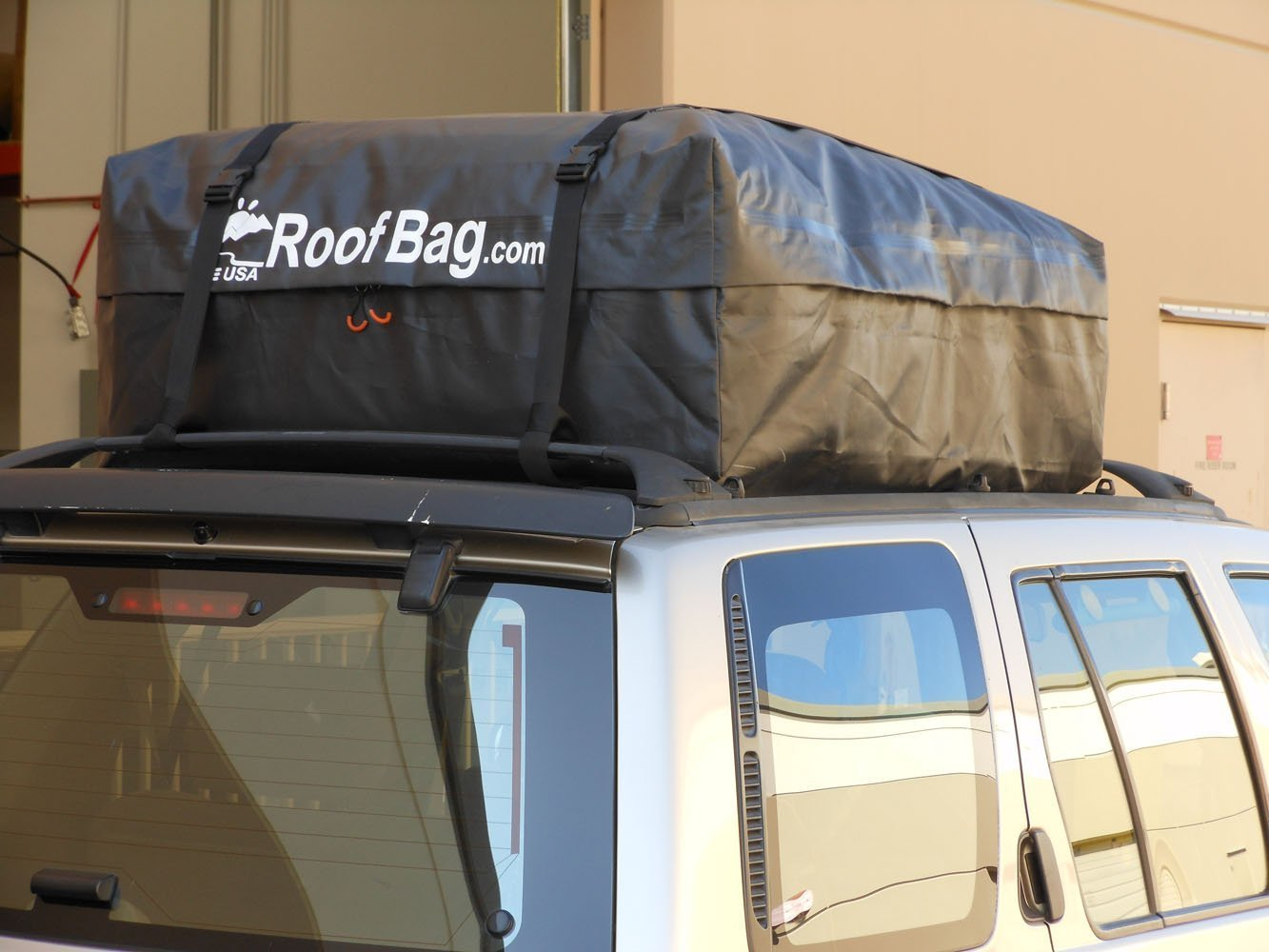 RoofBag 100% Waterproof, Made in USA, Premium Triple Seal for Maximum Protection, 2 Yr Warranty, Fits ALL Cars: With Side Rails, Cross Bars or No Rack, Rooftop Cargo Carrier includes Heavy Duty Straps