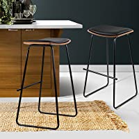 Artiss 2 Pcs Bar Stools 76cm Height Leather Foam Counter Stools, Black Metal Bar Chairs for Home Kitchen Dining Room…