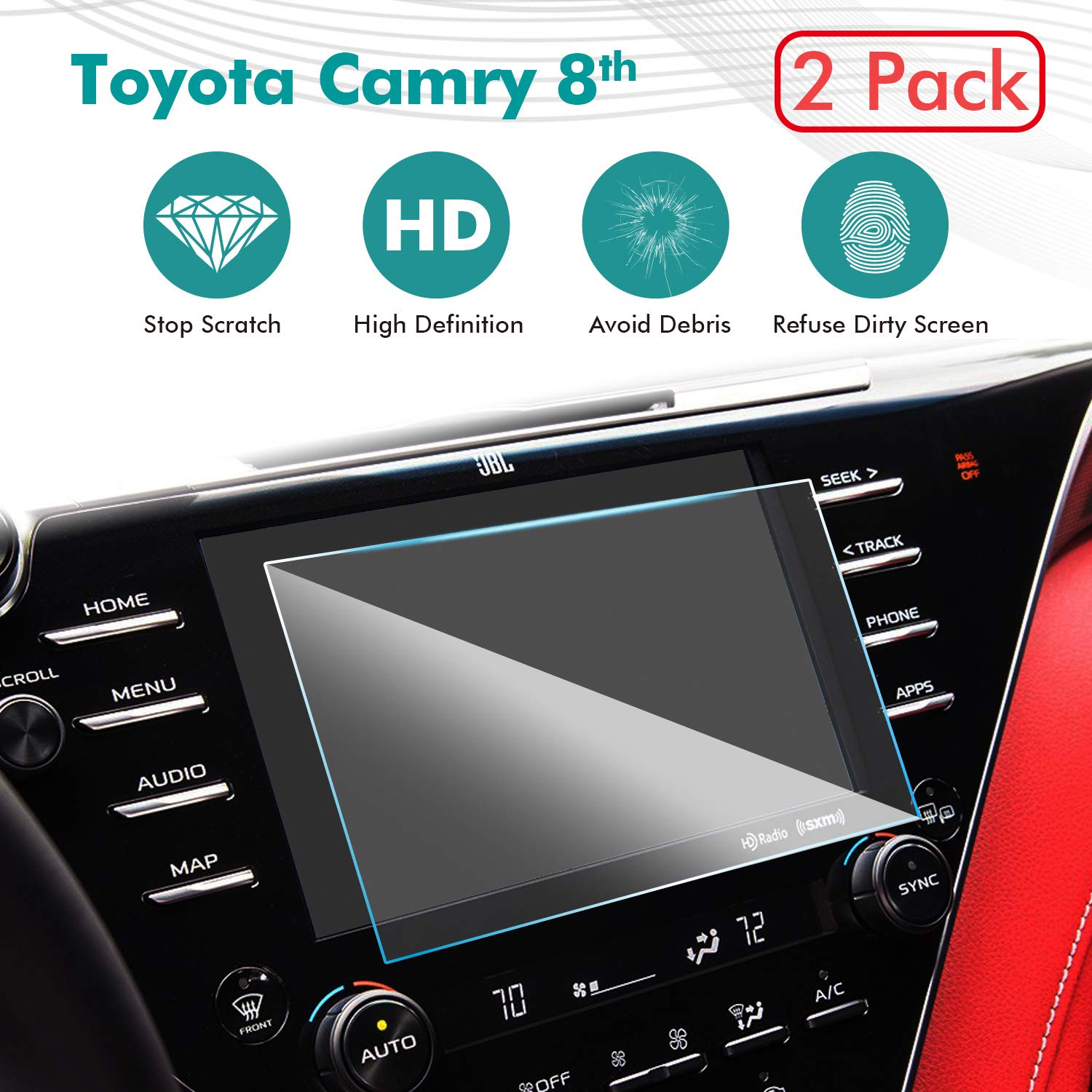 2018 Toyota Camry 7-in in-Dash Screen Protector GSW Digital technology 2 Pack AXVH70 AXVH70N Compatible with LE SE HD Clear Tempered Glass Car Navigation Screen Protective Film