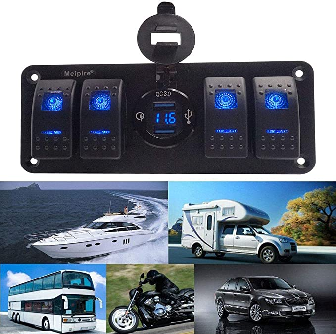Meipire 5 Gang Switch Panel /& 4.8A Dual USB Chargeur avec LED Bleue pour 12V ~ 24V V/éhicules Voiture Bateau SUV Camion RV Camping Car Construction Vehicle