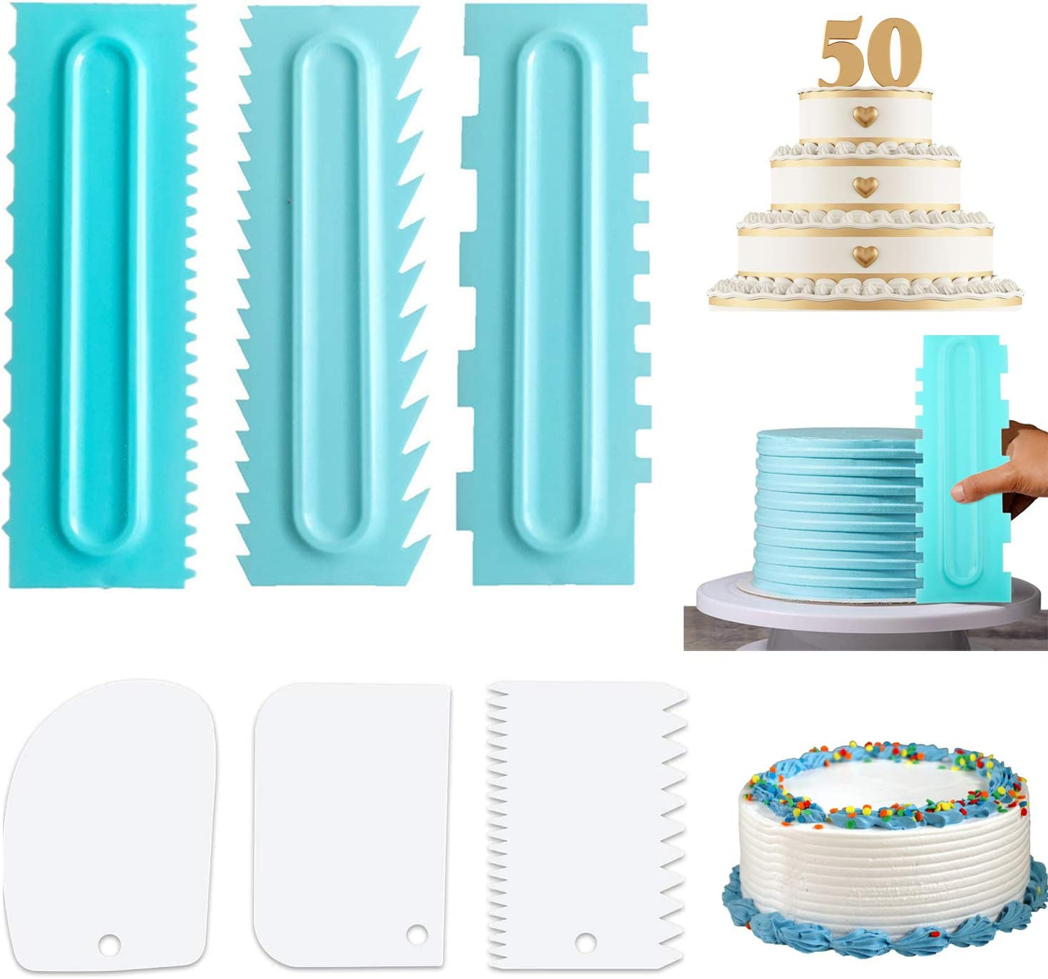 4 Pack Cake Scraper Set Decorating Comb and Icing Smoother Tool Mousse Butter Cream Cake Edge DIY Tool Plastic Sawtooth Cake Scraper Icing Smoother Comb Set Cake Decorating Comb Kitchen Baking Tools