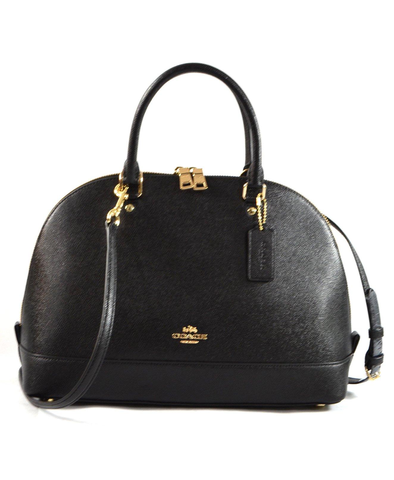 Coach F57524 Crossgrain Sierra Satchel Shoulder Handbag Black