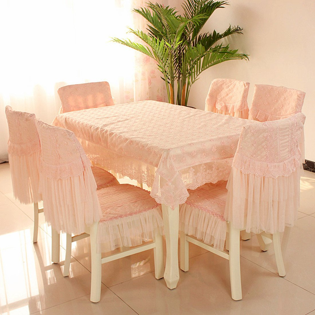 Country style liuxinghuayuan pink check lace chair back cover and cushion cover