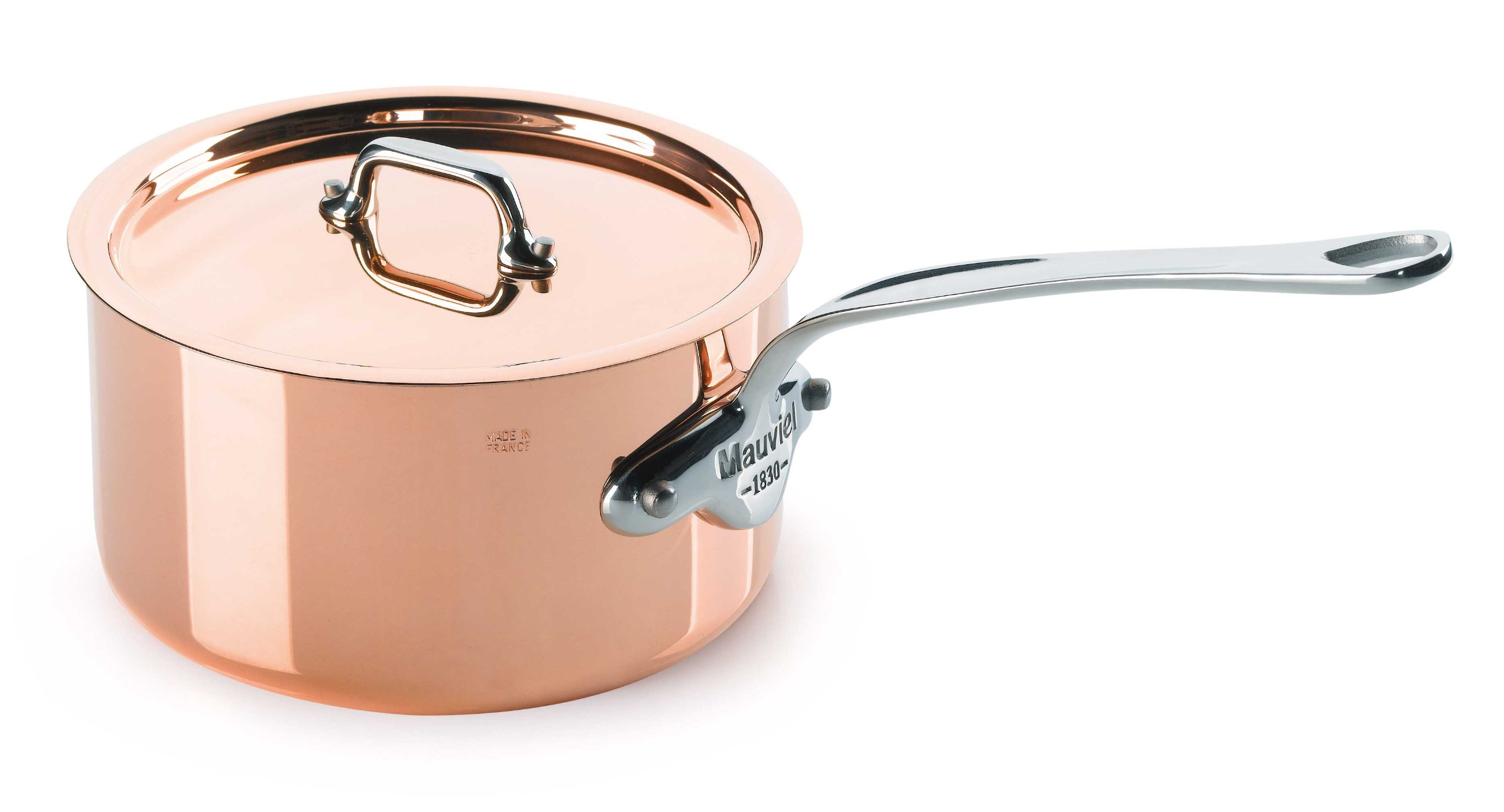 Mauviel Made In France M'Heritage Copper M150S 6110.13 0.9-Quart Saucepan with Lid, Cast Stainless Steel Handles.
