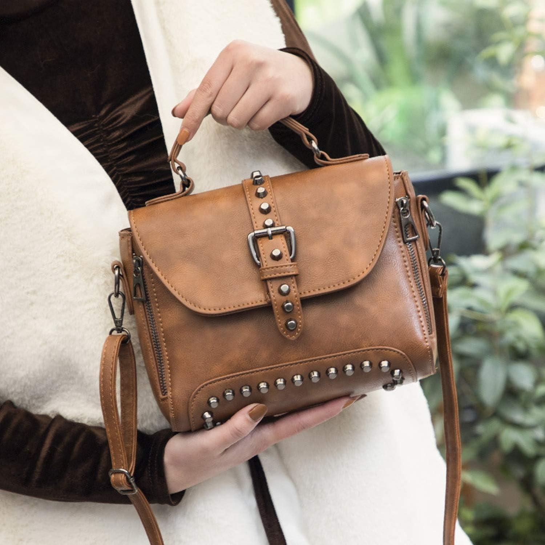 Vintage Leather Bags Handbags Women Rivet Small Shoulder bag Sac Crossbody Bags Women Messenger Bags