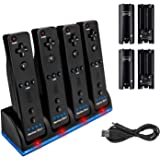 Four Charger Dock for Wii Remote, TechKen Remote Control Charger Docking Station with 4 Rechargeable Batteries from Nintendo