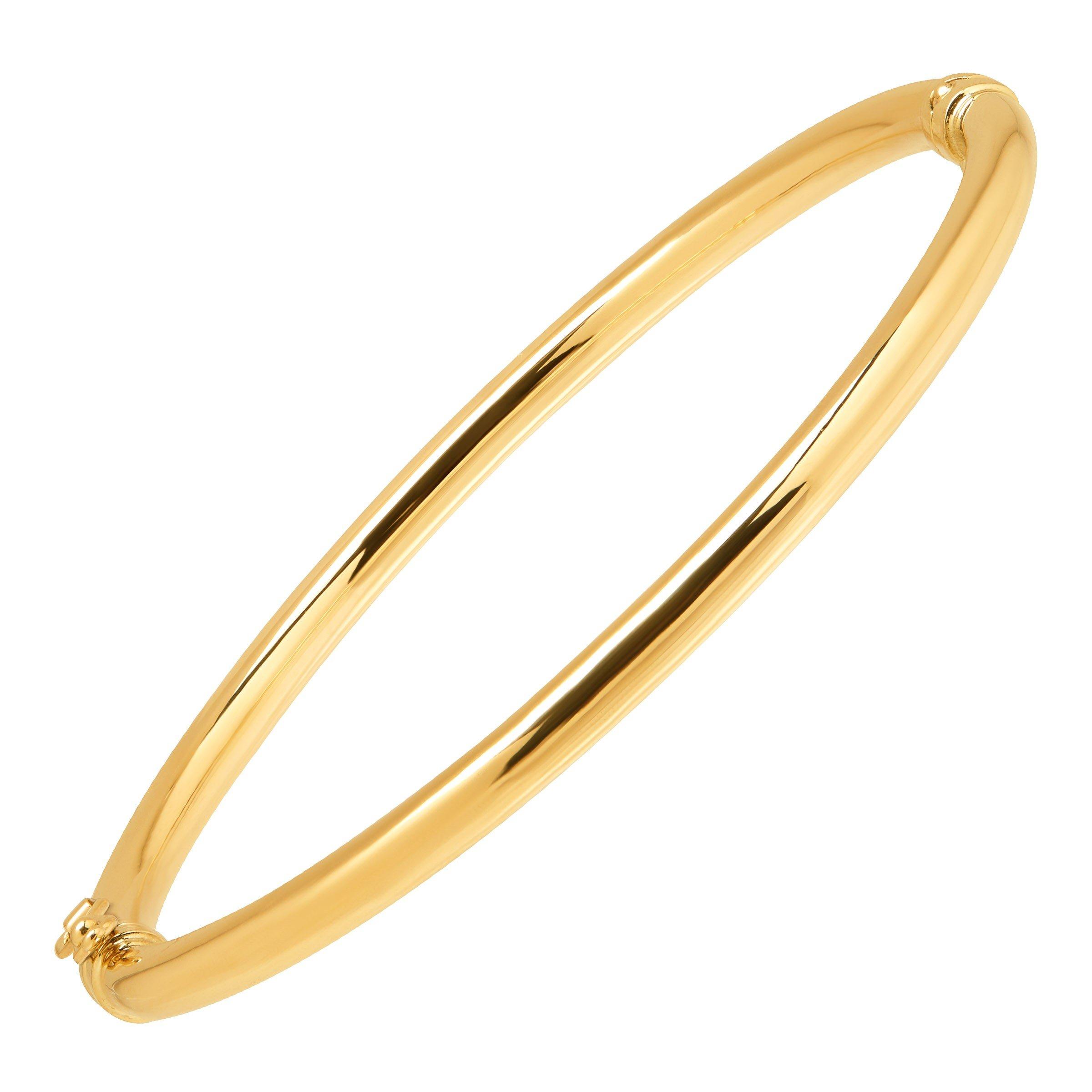 Just Gold Polished Hinged Bangle Bracelet in 10K Gold