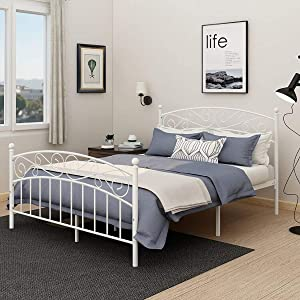 related image of             AUFANK Metal Beds Victorian Style Platform Bed