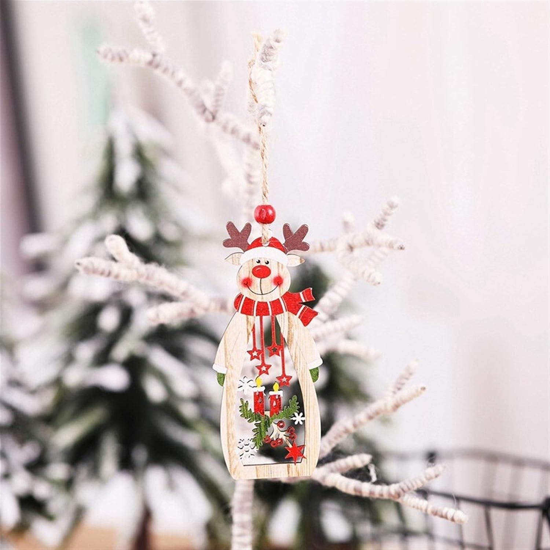 Decoraciones de navidad Árbol de Navidad DIY Artesanía de madera para niños Regalo para niños para el hogar Decoraciones de la fiesta 1pc Muñeco de nieve de Navidad Santa Claus alces Pendientes de mad