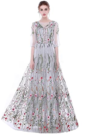 464919b4cd7 Honeydress Women s Floral-Embroidered Long Sleeve Maxi Dress Prom Gown