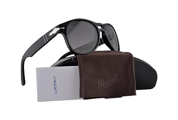 ddc0072b41 Persol PO3155S Sunglasses Black w Gray Gradient Dark Gray Lens 104171 PO  3155 For Men  Amazon.ca  Clothing   Accessories