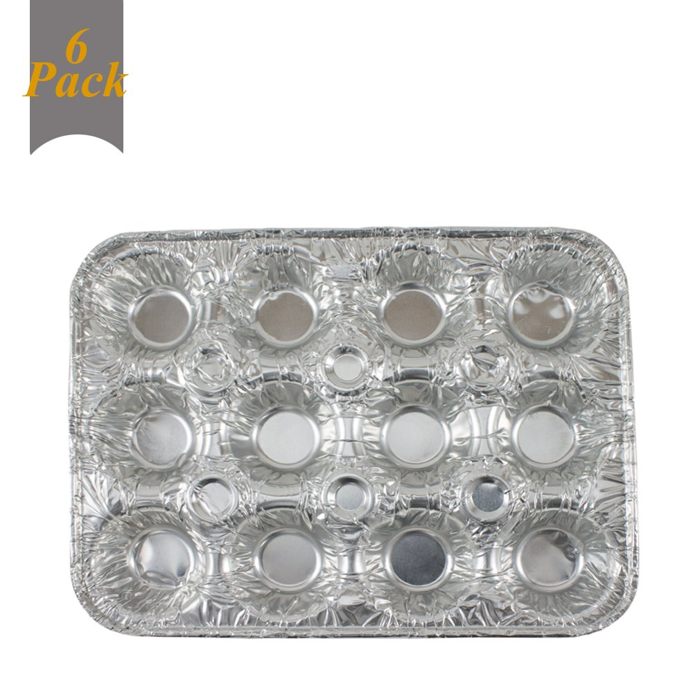12 Mini Cavity Compartment Muffin Aluminum Foil Disposable Recyclable Pan-6 Pack (12 Cavity Compartmen)