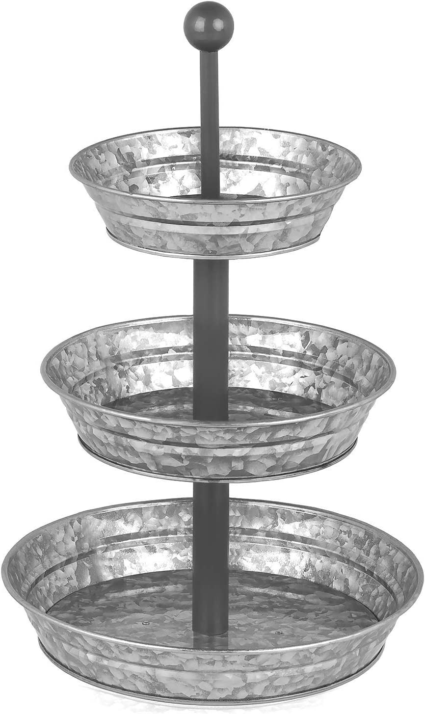 Amazon Com 3 Tier Serving Tray Galvanized Rustic Metal Stand Dessert Cupcake Fruit Party Three Tiered Platter Country Farmhouse Vintage Decor For The Kitchen Home Farm Outdoor By Hallops