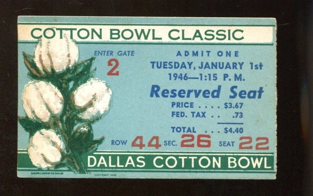 1946 Cotton Bowl Ticket Texas Longhorns v Missouri Mizzou 1/1/46 41949