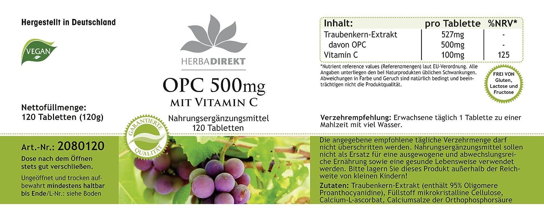 OPC 500mg + Vitamina C - Herbadirekt - 120 comprimidas - artículo vegano: Amazon.es: Salud y cuidado personal