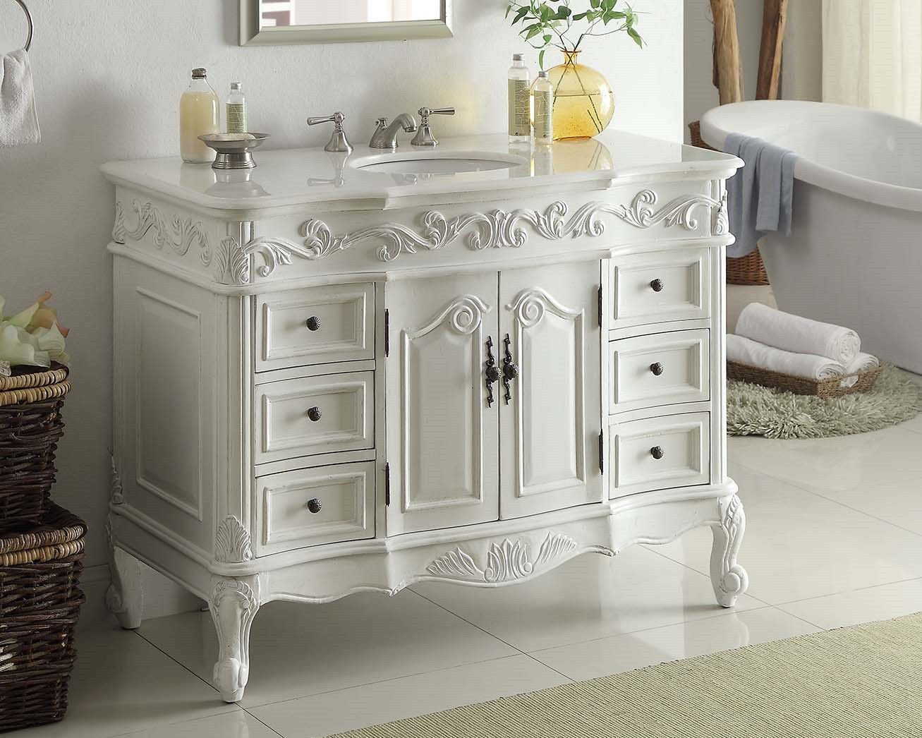 bathroom sink vanity cabinet. 42  Antique White Beckham Bathroom sink vanity Cabinet Mirror SW 3882W AW Amazon com