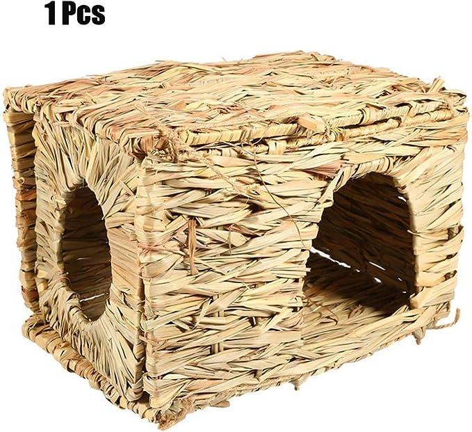 PENGYANZHOU Hecha a Mano Natural Césped Casa de la Cama Casa de Paja Pajaro Pájaro Jaula Nido Cubby para Conejito Conejo Hamster Gerbil Chinchillas