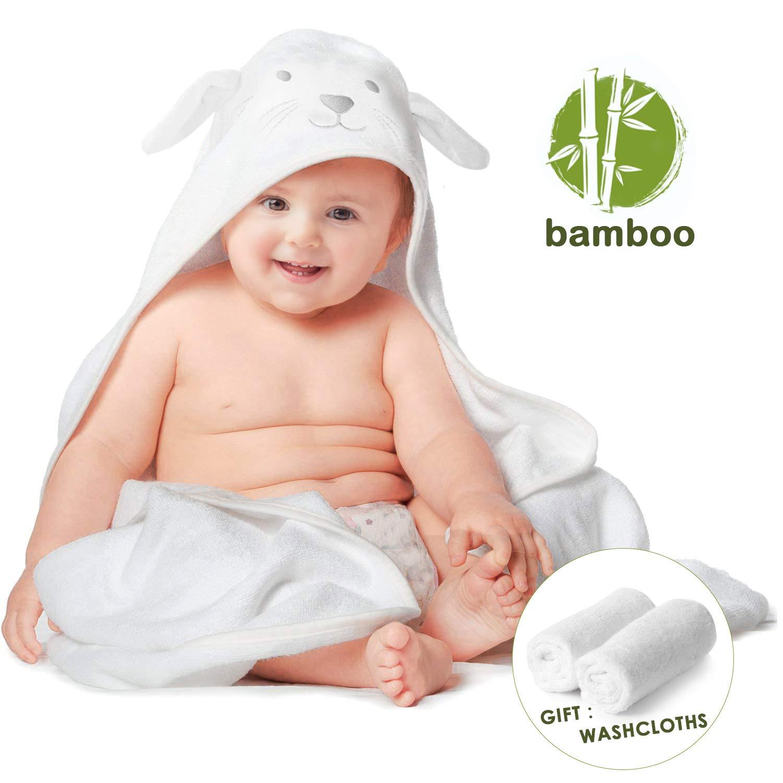 Toalla con capucha para bebés de bambú