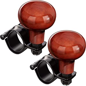 2 Pieces Steering Wheel Spinner Knob Steering Wheel Booster Knob Wooden Vehicle Wheel Spinner Fit for Vehicle Cars Trucks Semis Tractors Boats Lawn Mowers and Lawn Tractors