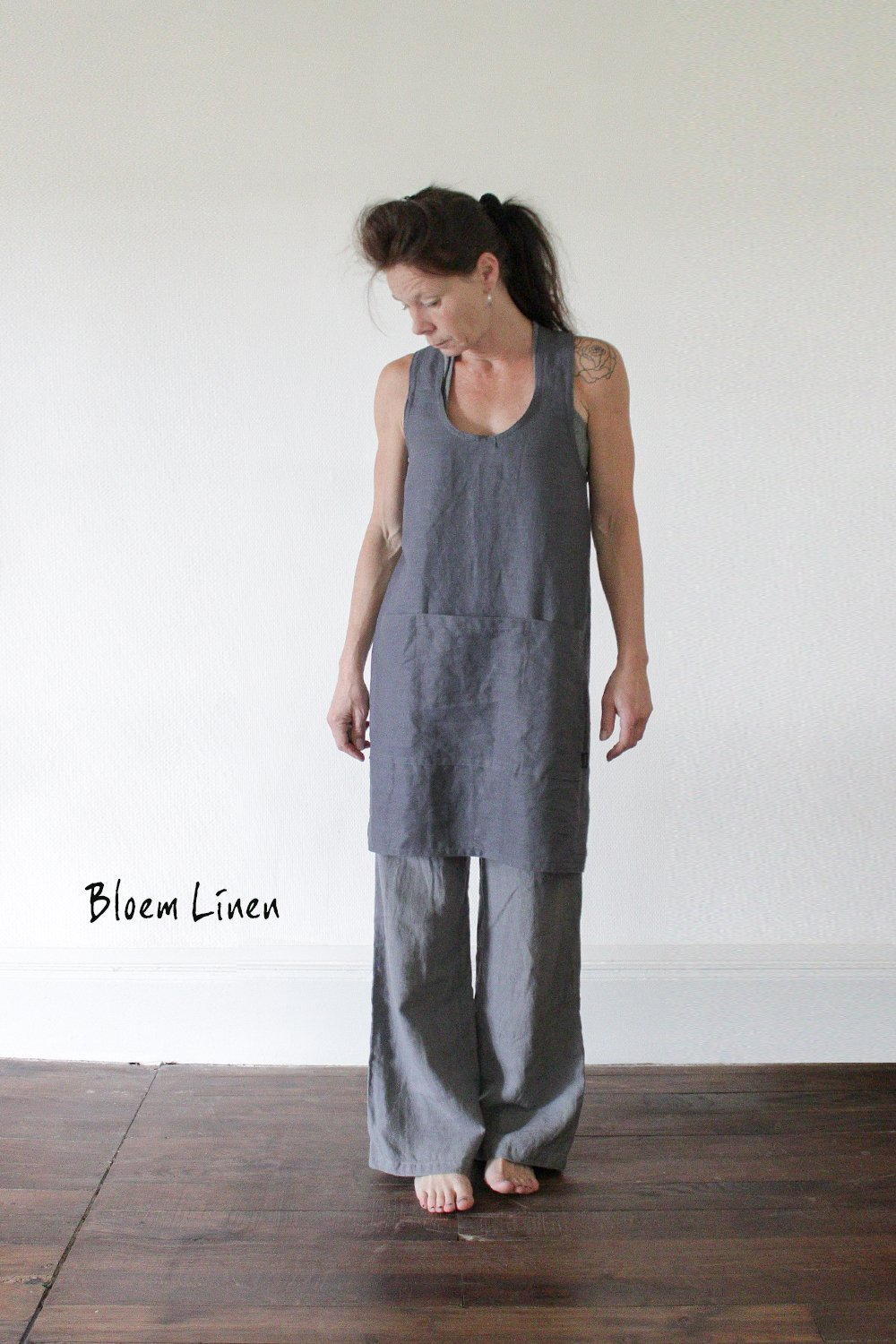 Linen apron in Ardoise, Handmade Pinafore, Cross back linen apron, Eco friendly