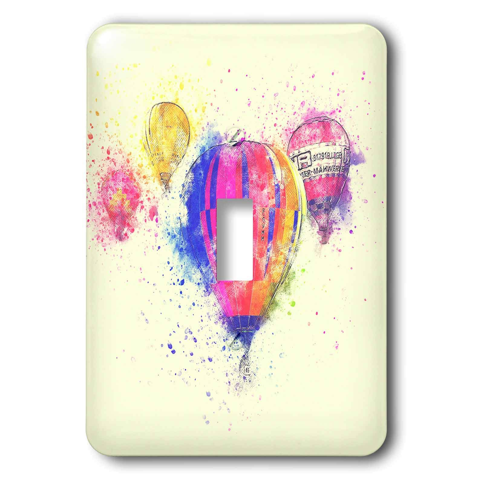 3dRose Andrea Haase Art Illustration - Hot Air Balloons Watercolor Painting - Light Switch Covers - single toggle switch (lsp_288990_1)