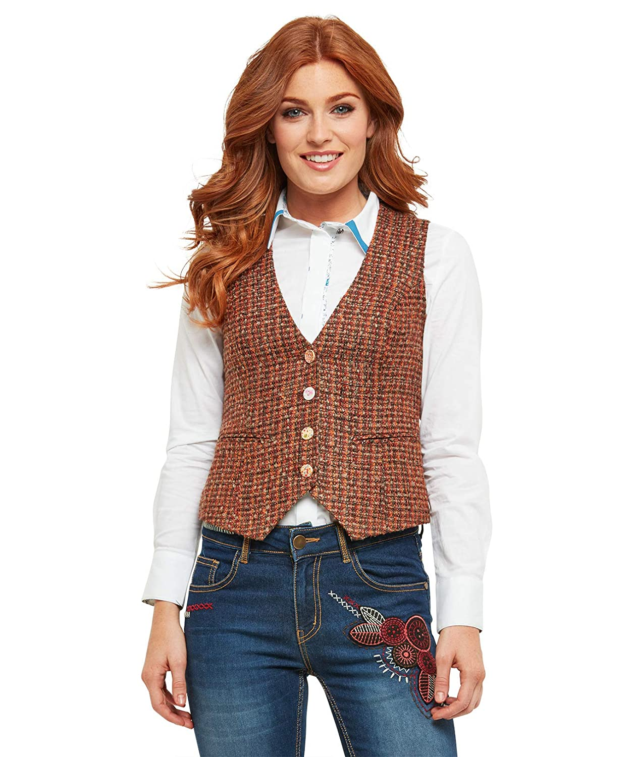 Joe Browns Womens Checked Textured Fully Lined Waistcoat WJ176