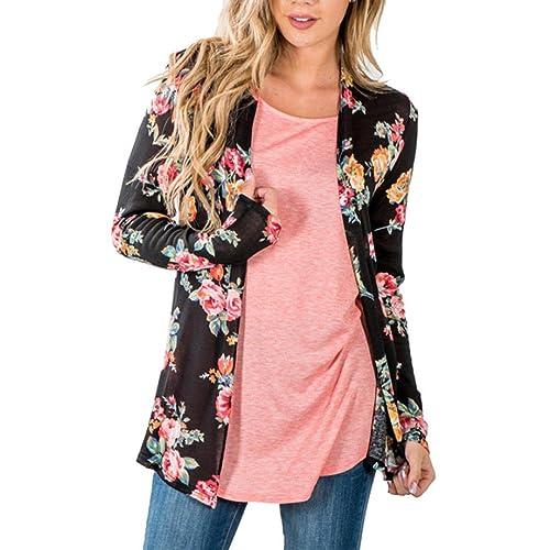 HARRYSTORE Mujeres Boho Floral Impreso Top Loose Shawl Kimono Negro Cardigan