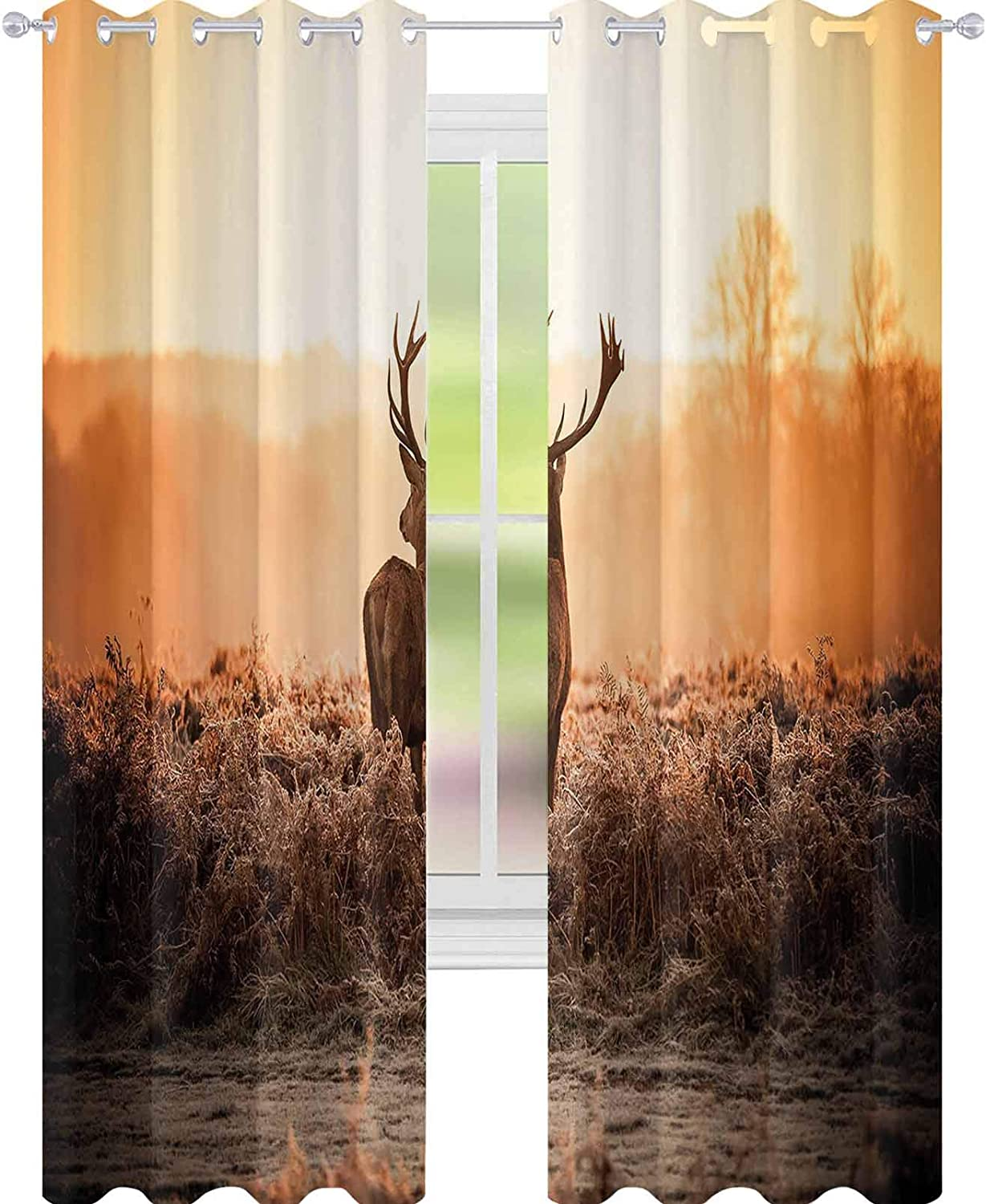 """YUAZHOQI Hunting Decor Curtains for Living Room Red Deer in The Morning Sun Wild Nature Scenery Countryside Rural Heathers Noise Reducing Curtain 52"""" x 72"""" Brown Orange"""