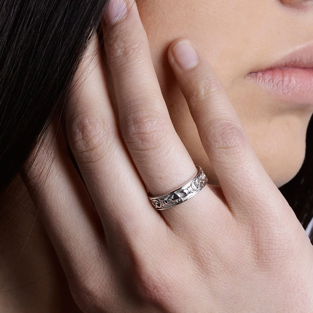 Ladies Claddagh Wedding Ring SL-SD8 - Size: 8 Made in Ireland. by CLADDAGH RING STORE (Image #2)