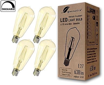 greenandco 4X Bombilla de filamento LED Regulable Vintage E27 ST64 6.8W (corresponde a 50W
