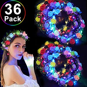 TURNMEON 36 Pack LED Headbands Flower Crowns, Flashing & Adjustable Flower Headbands Glow in The Dark Festival Rave Glow Accessories Headbands Gifts for Women Girls Halloween Party Supplies Favors